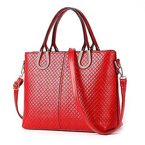 koson-man Femme Vintage Sacs bandoulière Sac à Poignée Supérieure Sac à main, rouge (Rouge) - KMUKHB311