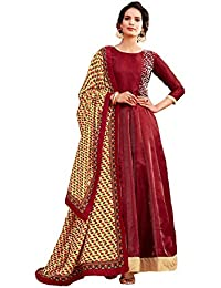 AnK Women's Banglori Embroidered Long Semi-Stitched Salwar Suit With Printed Dupatta