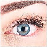 Sehr stark deckende und natürliche blaue Kontaktlinsen SILIKON COMFORT NEUHEIT farbig 'Mirel Blue' + Behälter von GLAMLENS - 1 Paar (2 Stück) - DIA 14.00 - ohne Stärke 0.00 Dioptrien