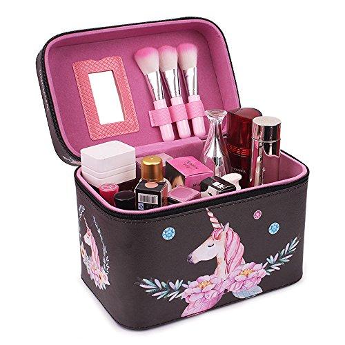 Beauty Case Kosmetiktasche Reise Kulturtasche Kulturbeutel Make up Bag Kosmetikkoffer 17x15x23cm Groß (Einhorn schwarz)