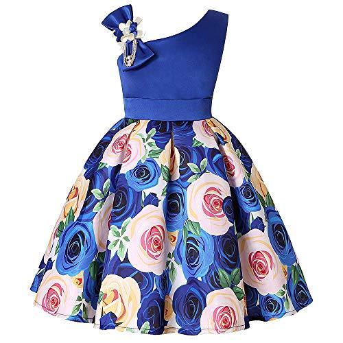 Huihong Baby Mädchen Kleider Blumen Mädchen Hochzeit Kleid Ärmellos Swing Kleider Kleid Geburtstagskleider  Fesitve Kleider (Blau, 12-24 Monate/100)