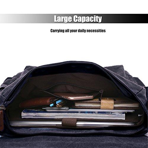 LOSMILE Uomo Tela Borse a spalla Borsa a Tracolla Borse Messenger Borsa di Tela Messenger bag Laptop Borsa. (Nero) Nero