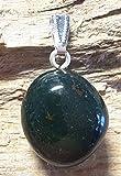 KRIO® - Jaspis grün/Heliotrop als Anhänger mit silberfarbener Öse