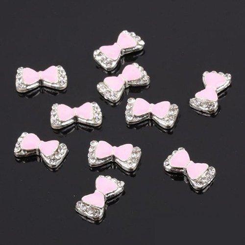 SODIAL(R)10X 3D heisse populaere Multi Strass Schleife Nagel Kunst Dekoration Aufkleber DIY- Rosa (Rosa Strass-schleife)