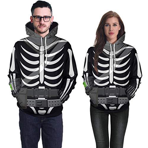 Plus Für Shirt Kostüm Erwachsene - Goddesslili Erwachsenen-Kostüme für Paare, süßes Cartoon-3D-Halloween-Skelett-Print, langärmelig, mit Kapuze, Sweatshirt Blusen für Damen, Herren, Unisex, Stil IV XL schwarz