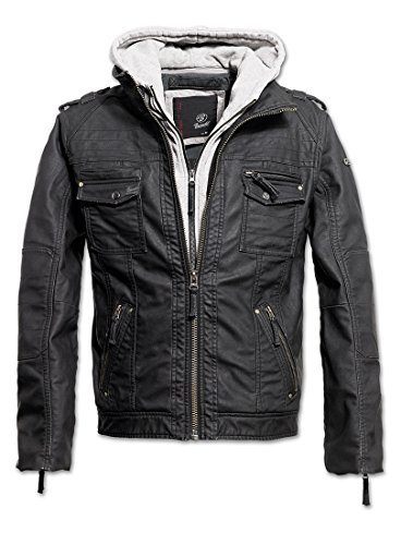 Brandit Black Rock Giacca Biker da uomo in similpelle giacca invernale Mehrfarbig - Schwarz m