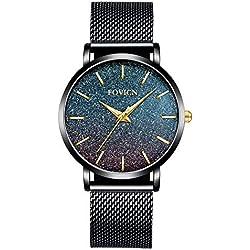 Relojes Ultra Delgados para Mujer, Malla Impermeable, Acero Inoxidable Negro con Oro, Moda para Mujer, Reloj de Pulsera de Cuarzo analógico, Regalo