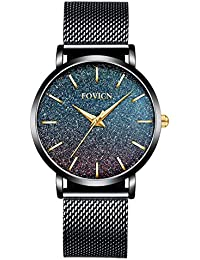 Relojes Ultra Delgados para Mujer, Malla Impermeable, Acero Inoxidable Negro con Oro, Moda para Mujer, Reloj de Pulsera de Cuarzo analógico,…