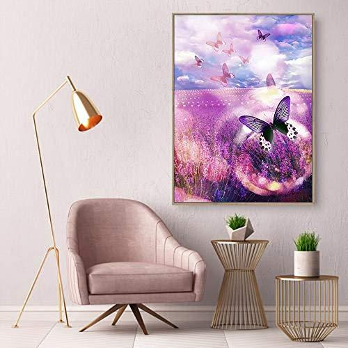 adgkitb canvas Nordic Butterfly Lavanda Giardino E Stampa Opere d'Arte della Parete Pittura su Tela Decorazioni per la casa Soggiorno Camera da Letto Decorazione 40x60cm No Cornice