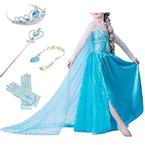 rinzessin Schneeflocke Süßer Ausschnitt Kleid Kostüme mit Diadem, Handschuhen, Zauberstab und Zopf, Gr. 98/140 (130 ( Körpergröße 130cm ), #01 kleid mit 4 Zubehör) (Kinder Süßes Kleid)