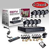 KIT VIDEOSORVEGLIANZA h264 CCTV 8 CANALI TELECAMERA INFRAROSSI DVR 8 CANALI - 8 ALIMENTATORI - 8 PROLUNGHE - HARD DISK 1 TB