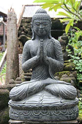 Ciffre Großer 60cm Lava Stein Buddha Mönch Antik Look Massiv Steinfigur Skulptur Feng Shui Garten Deko Wetterfest Lawa Steinguss Ca 40 Kilo STB1