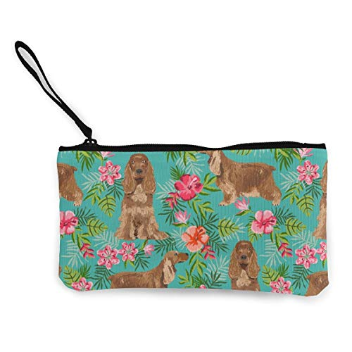 Cocker Spaniel Hawaiian Turquoise Multifunctional Portable Canvas Coin Purse Phone Pouch Cosmetic Bag,Zippered Wristlets Bag