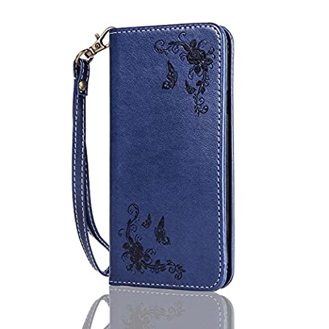 Lonchee Samsung Galaxy A7(2015) Case Cover, embossed pattern PU Leather Wallet Stand Flip Case Cover for Samsung Galaxy A7(2015) - Dark blue