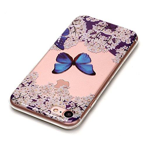 Per Apple iPhone 7,Sunrive® Custodia Cover Case in molle Trasparente Ultra Sottile TPU silicone Morbida Flessibile Pelle Antigraffio protettiva(Fiore rosso farfalla) Farfalla blu