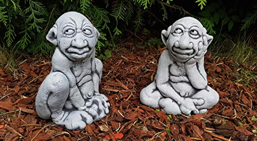 2-Set lustige Gartenfiguren Gnome Steinfigur frostfest Deko Garten Balkon Gargoyle