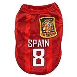 Kingnew Pet Fußball Kleidung Welt Cup Jersey Atmungsaktive Sportbekleidung für Outdoor Sommer (Spanien, S)