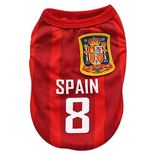 Kingnew Pet Fußball Kleidung Welt Cup Jersey Atmungsaktive Sportbekleidung für Outdoor Sommer (Spanien, L)