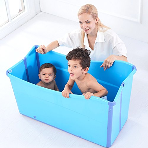 Bañera plegable para adultos, bañera para niños en el hogar, bañera engrosada, te puedes sentar ( Color : Blue )