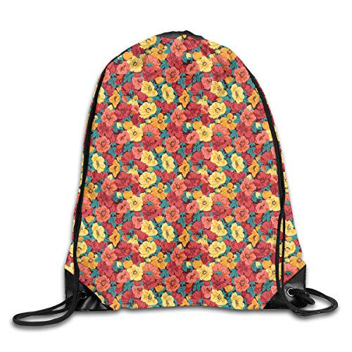 EELKKO Drawstring Backpack Gym Bags Storage Backpack, Retro Style Floral Pattern Romantic Botanical Spring Composition,Deluxe Bundle Backpack Outdoor Sports Portable Daypack
