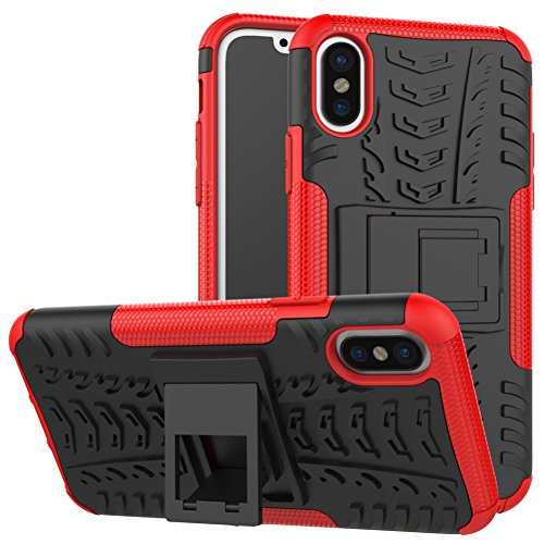 iPhone X Phone Coque DWaybox Hybrid Rugged Heavy Duty Armor Hard Back Housse Coque avec Kickstand pour Apple iPhone X 5.8 Inch (Hot PinK) Red