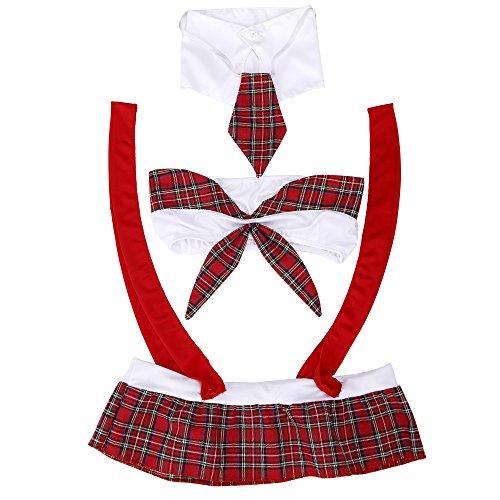 Reizwäsche Dessous,Sondereu Schuluniform Uniform Erotik Cosplay Kostüm Nachtwäsche Student Unterwäsche Babydoll Schulmädchen Kleid Halloween School Girl Karneval Rot (Rot)