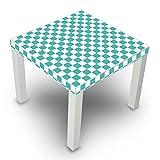 banjado - Beistelltisch Design Tisch 55x45x55cm Wonhzimmertisch weiß mit Motiv Karo Türkis