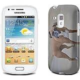 Chiens 10046, Boxer, Clair Etui Housse Coque de Protection en Cuir avec Stand, Fermeture Magnétique et Dessin Coloré pour Samsung Galaxy S3 Mini i8190