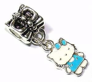 Blue Kitty Dangle - Silver Plated Charm Bead - fits Pandora, Chamilia etc style Bracelets - SpangleBead