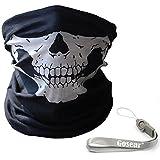 Gosear® Skull Face Cráneo Máscara, braga cuello calavera de esqueleto para cara y cuello, Pasamontañas Calavera Sin Costura Máscaras Faciales de la Motocicleta y ciclistas + Hang Rope