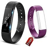JIUXI Fitness socken Wasserdicht IP67 Fitness Tracker Aktivitätstracker Smartwatch mit Schrittzähler Kalorienzähler Schlafüberwachung Uhr Message Benachrichtigung für Android iOS Kinder Frauen Männer