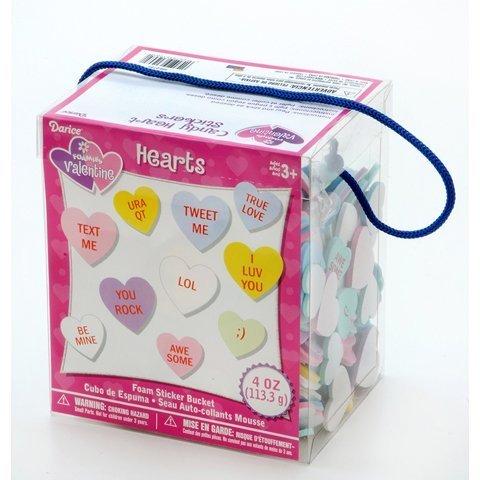 Foamies Valentine Conversation Heart Stickers - Candy Heart Stickers - Foam Sticker Bucket by Darice