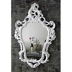Muebles Antiguos Y Decoración Espejo De Pared Blanco-plata Antiguo Barroca Retro 50x76 Shabby Prunk Vintage Arte Y Antigüedades