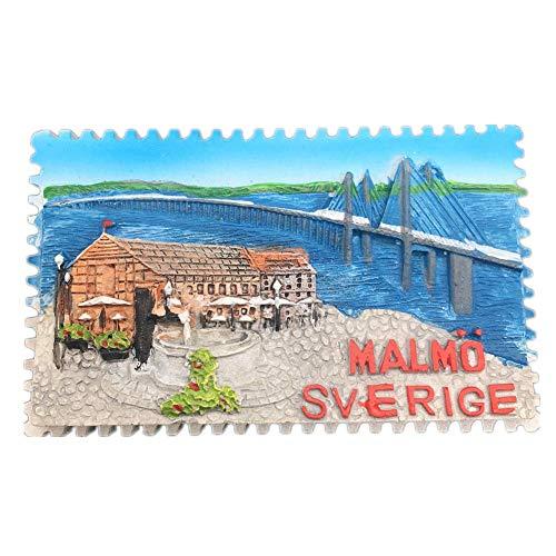 (Kühlschrankmagnet Malmö Schweden 3D Harz Handgemachtes Handwerk Touristische Reise Stadt Souvenir Sammlung Brief Kühlschrank Aufkleber)