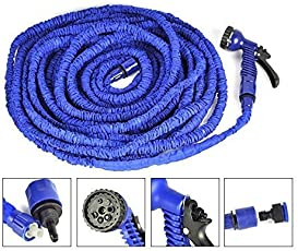 Luvina Magic Hose Hose Pipe,TechCode 50 Feet Expandable Flexible Garden Hose Pipe with Solid Brass Hose Fittings & Spray Gun for Plants Watering and Car Washing (50FT)