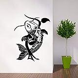 YuanMinglu Startseite Fisch traditionelle Klassische Tier Wandtattoo entfernbare Vinyl Fisch Wandkunst Tier Tapete Wandbild schwarz 42x55cm