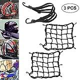 2pz Rete Elastica Moto e 1pz Corda Elastica con ganci, Universale Multiuso Accessori per Moto Bici Portapacchi Coprire Appendere Casco Bagagliai (Nero)