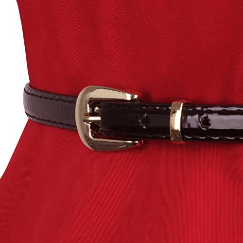 LUOUSE 40s 50s 60s Vintage V-Ausschnitt Schwingen Rockabilly Pinup Ballkleid Partei Kleid V026-Rot