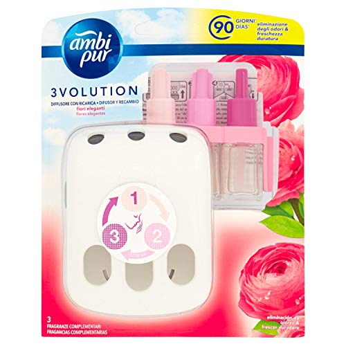 Ambi Pur 3Volution Fiori Eleganti Deodorante per Ambienti con Diffusore Elettrico, Starter Kit - 21m