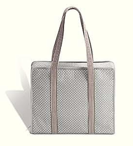 Prym Polka Dot Sac avec poignée à rayures tout en 1, coton, gris/gris clair/blanc, L