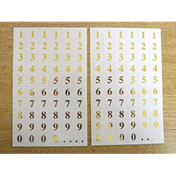7mm gold numbers on clear transpapent square labels self adhesive sticky vinyl labels durable