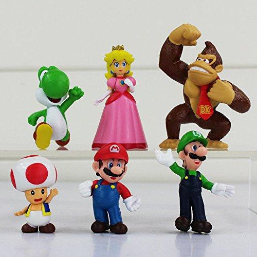 6 Figuren, Motiv: Super Mario Brothers, als Kuchenaufsetzer, Spielzeug oder Geschenk (Blues Brothers Figuren)