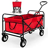Pull Along Festival Trolley Foldable Garden Outdoor Hand Cart Red 100killogram 84x44x27.5centimeter Heavy Duty Utility Steel Wagon Truck