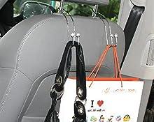 MFEIR® Automoción coche sostenedor del gancho Percha apoyo para la cabeza Volver ganchos de asiento para el bolso monedero del paño 2 piezas