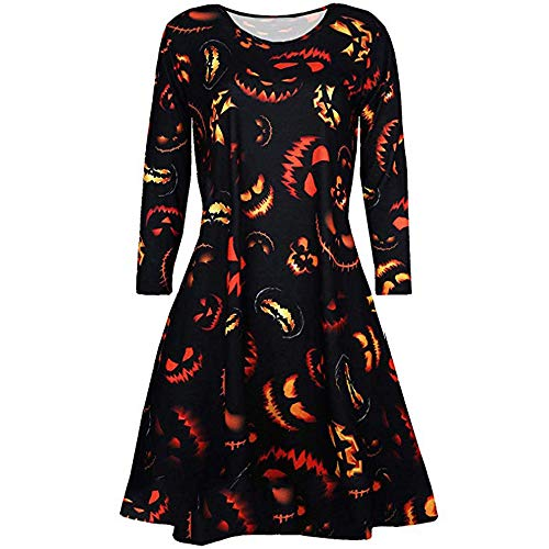 Dicomi Damen Vampire Horror Blood Halloween Kostüm Damen Smock Flared Swing Dress B Schwarz L (Joker Heist Kostüm)