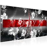Bilder Abstrakt Blumen Wandbild 100 x 40 cm Vlies - Leinwand Bild XXL Format Wandbilder Wohnzimmer Wohnung Deko Kunstdrucke Rot 1 Teilig -100% MADE IN GERMANY - Fertig zum Aufhängen 104412a