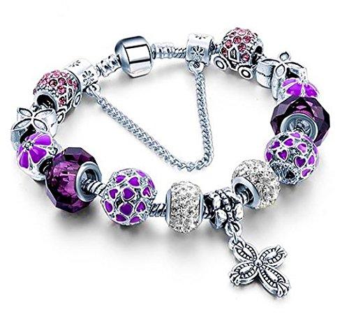 """Bs – bracciale con perle tipo """"charm"""", placcato argento, con cristalli in vetro viola, collezione """"boîte de pandore"""" esclusiva 2017"""