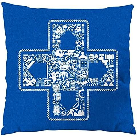 style3 PLAY Cojín con relleno 28 × 28 cm funda de algodón gamer game videojuego, Color:Azul