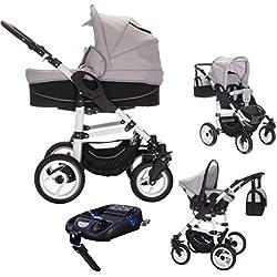 bebebi | Modelo Paris | Carrito 3en 1Set | Isofix Base & Auto asiento, neumáticos de aire gris Concord