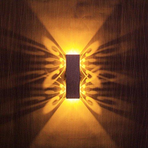 BAYTTER® Schmetterling 6W LED Wandleuchte Wandlampe mit Schalter Flurlampe Wandbeleuchtung silber aus Aluminium warmweiß 2000K, für Flur Restaurant, Konferenzräume, Salons, Bars, Restaurants, Hotels usw.